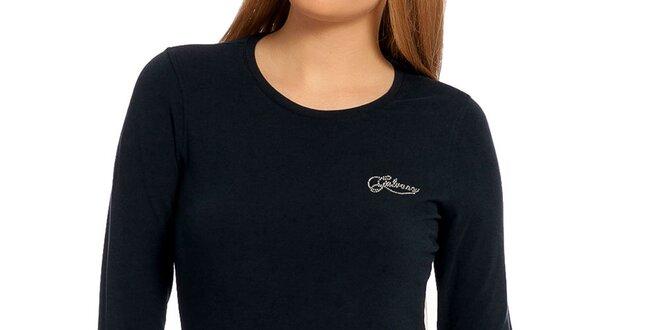 Dámske temno modré tričko s dlhým rukávom Galvanni