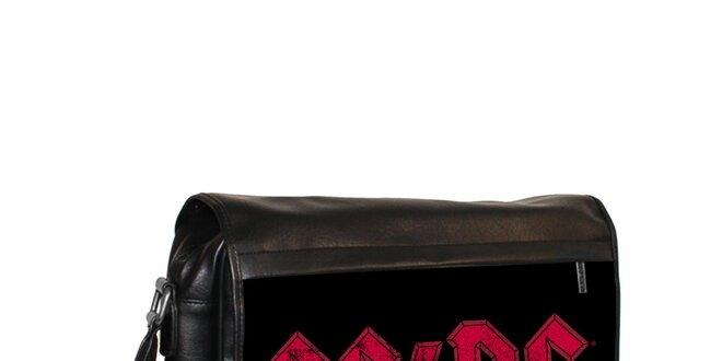 Čierna messenger taška s motívom AC/DC Kothai