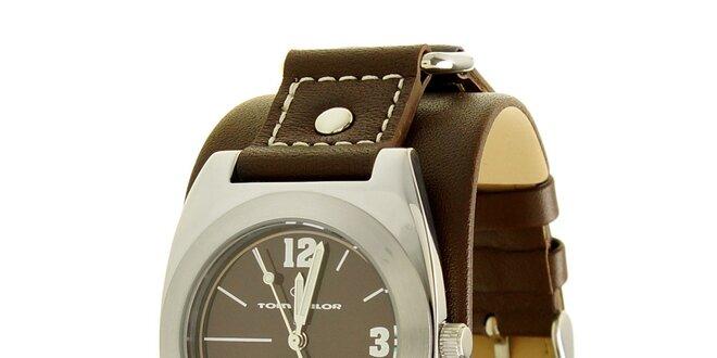 c667afa9c Štýlové oceľové hodinky Tom Tailor s tmavo hnedým koženým remienkom ...