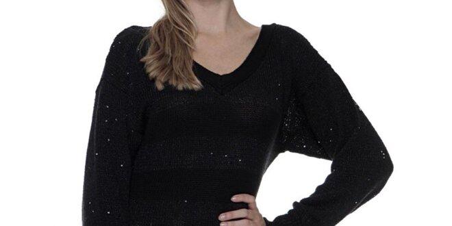 Dámske čierne pletené šaty s dlhým rukávom Guess