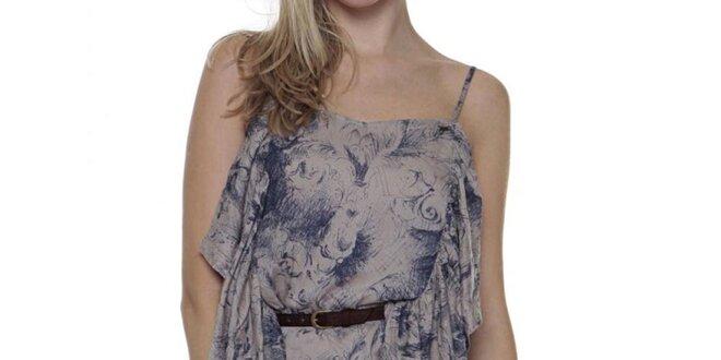Dámske šedomodré šaty s volánikmi Guess