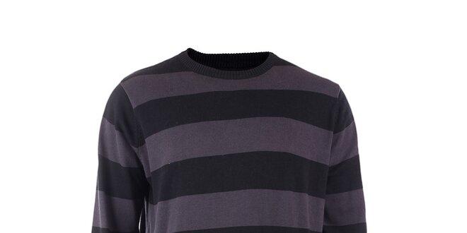 Pánsky šedo-čierno prúžkovaný sveter Fundango