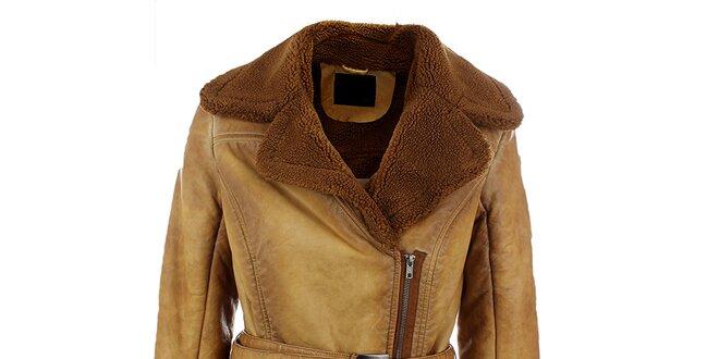 Dámsky ťaví kabát s hnedým kožúškom Company&Co