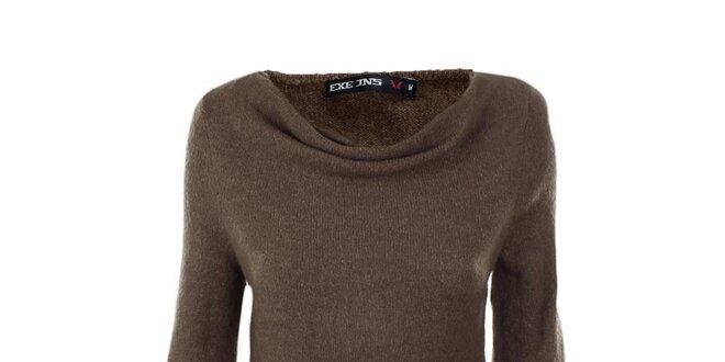 Dámsky hnedý sveter s vodovým výstrihom Exe Jeans