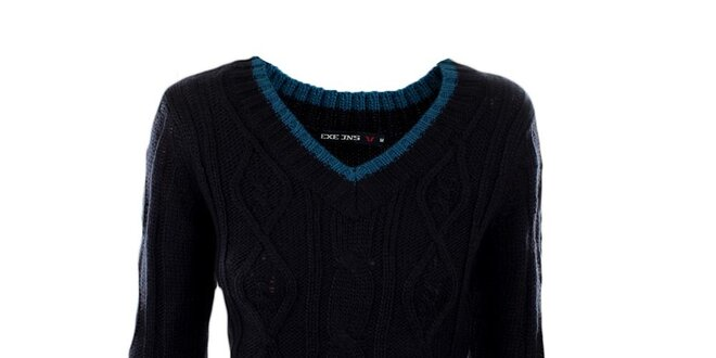 Dámsky tmavo modrý véčkový sveter Exe Jeans