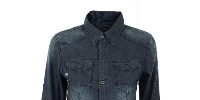 Dámska tmavo modrá džínsová košeľa Exe Jeans