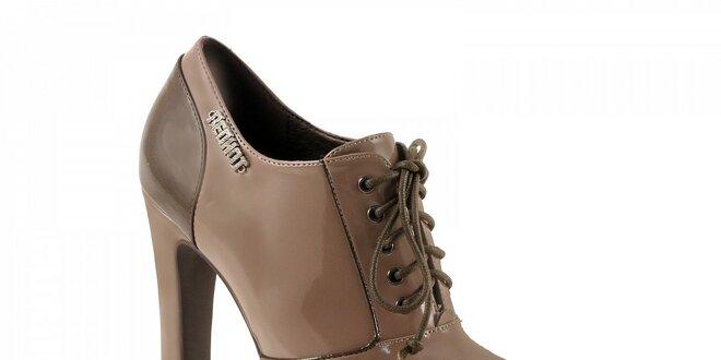 72994a6d737a Svetlo hnedé topánky na podpätku so zaväzovaním
