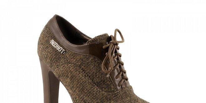 bc98bb1981bf Hnedé topánky na podpätku so zaväzovaním