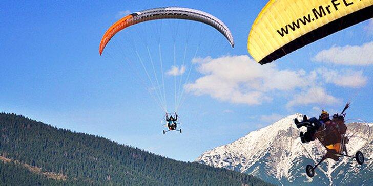 Tandemový alebo tandemovo-termický let na motorovom padáku ponad Liptov alebo Tatry