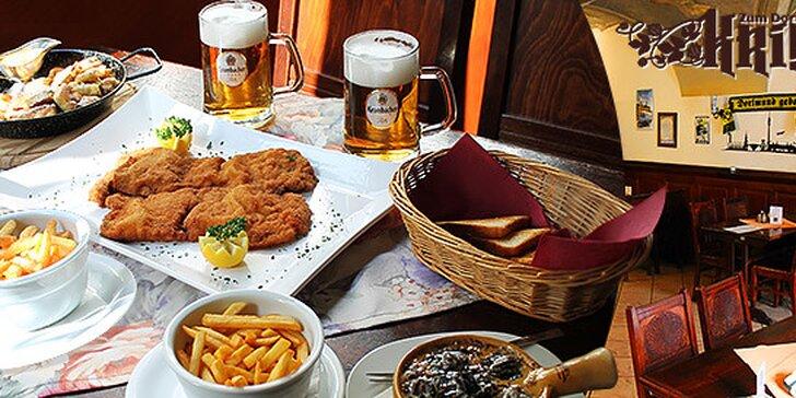Vyberané nemecké menu pre dvoch s pivom Krombacher