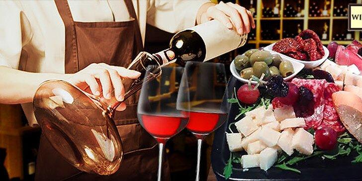 Ochutávka vín s občerstvením v centre mesta pre 2 osoby