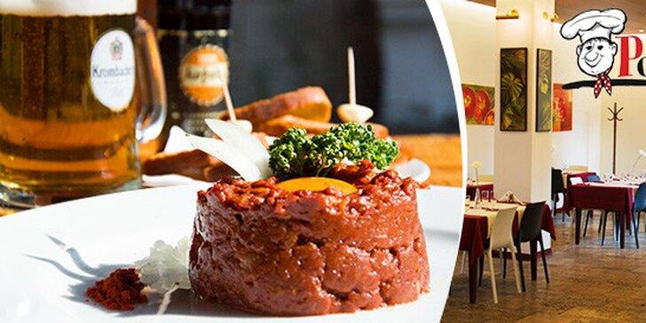 Hovädzí tatársky biftek s nápojom alebo bez
