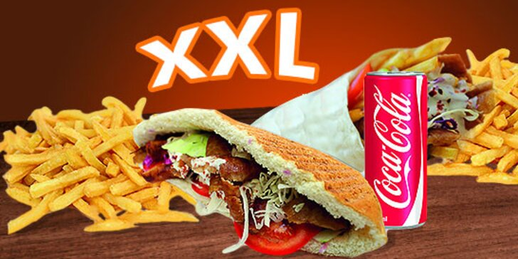 XXL Kebab alebo Twister menu s hranolkami a kolou