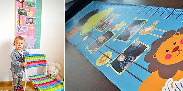 Detský meter na stenu s fotografiami vašich detí