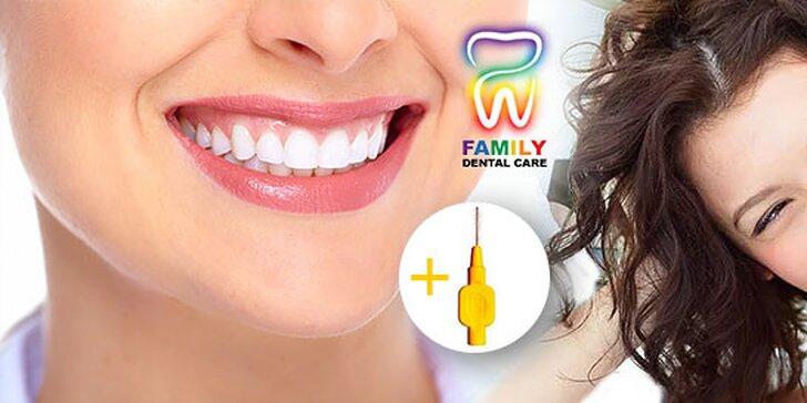 Profesionálna dentálna hygiena a bielenie zubov lampou Zoom! K dentálnej hygiene medzizubná kefka ako darček!