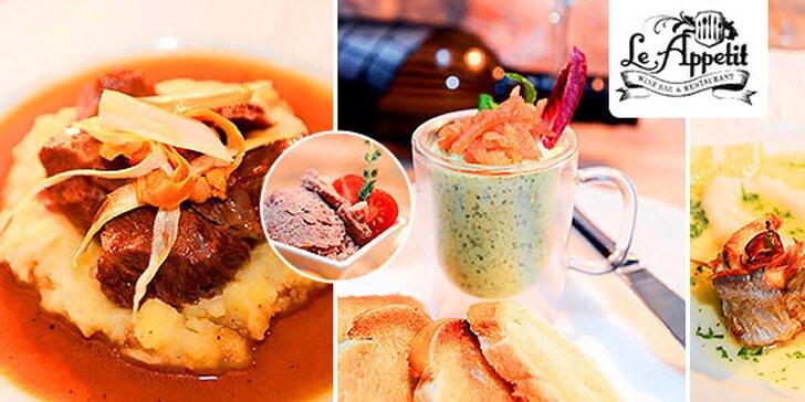 Dokonalé 3-chodové menu v Le Appetit pre 2 osoby