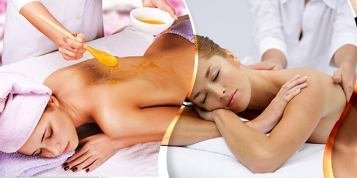 Klasická 45-minútová masáž a 15-minútový rašelinový zábal alebo 45-minútová medová masáž