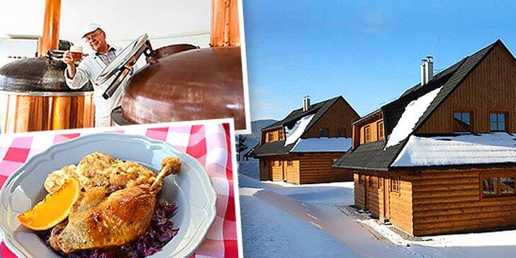 Ski pobyt v Rezorte Drevenice Terchová*** s gurmánskym kačacím menu a exkurziou do Pivovaru Vŕšky