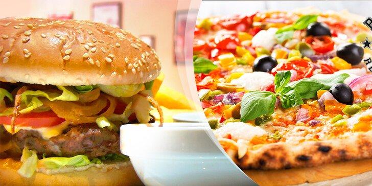 Poriadne šťavnatý hamburger alebo lahodná pizza