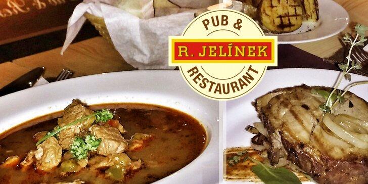 Tradičná kuchyňa: hlavné jedlo s polievkou a veľké pivo podľa výberu