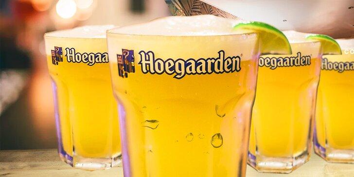 4 x Hoegaarden 0,5l alebo 8 x Staropramen 0,5l + 20% zľava na účet na mieste