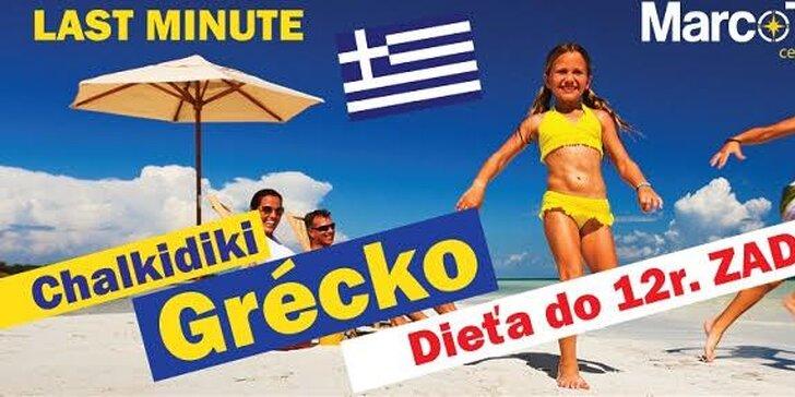 Letná 10-dňová dovolenka v Grécku za fantastické ceny. Dieťa do 12r. zdarma!