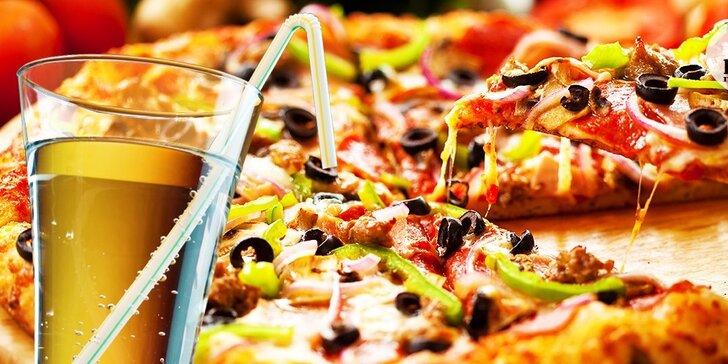 Chrumkavá pizza podľa vlastného výberu s nápojom
