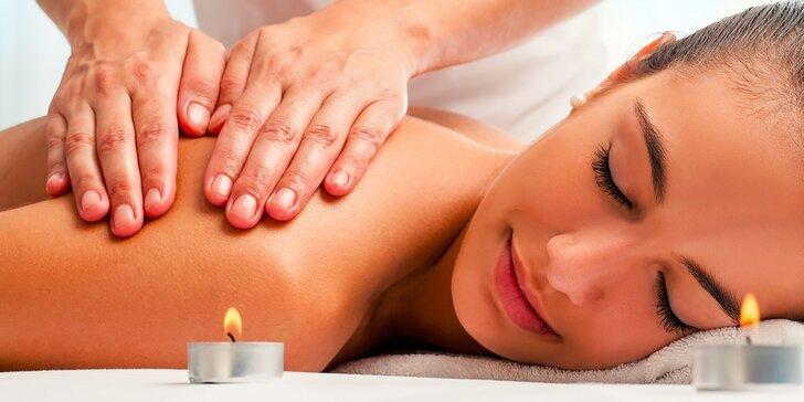 Zdravotná masáž chrbta a šije so zábalom podľa výberu
