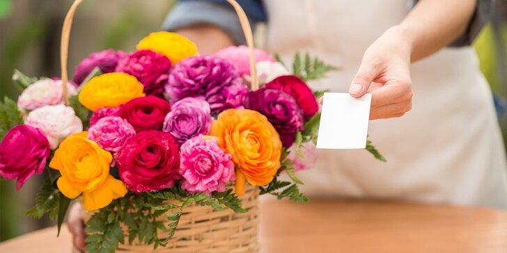 Zľavový kupón na nákup kvetov s doručením alebo osobným odberom