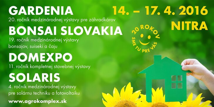 Lístok s prednostným vstupom na výstavu Gardenia Bonsai Slovakia Domexpo Solaris Nitra 2016