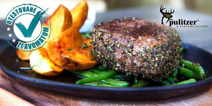 Gurmánska špecialita v Pulitzeri u zlatého jeleňa: Juhoamerický grilovaný hovädzí steak s prílohou a domácou slepačou polievkou