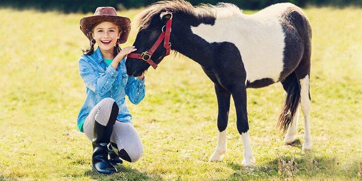 Lekcia jazdenia pre milovníkov koní alebo vozenie sa a starostlivosť o poníky pre deti od 3 do 6 rokov