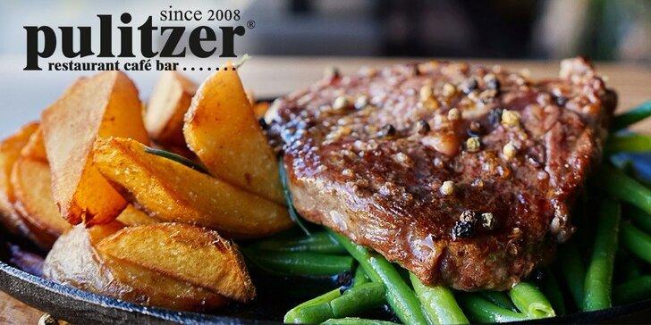 Gurmánska špecialita v Pulitzeri: Juhoamerický hovädzí entrecôte steak 200g. Aj so slepačou polievkou!