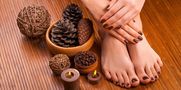 Klasická mokrá pedikúra s masážou a gel lakom alebo manikúra s gel lakom, či japonská manikúra