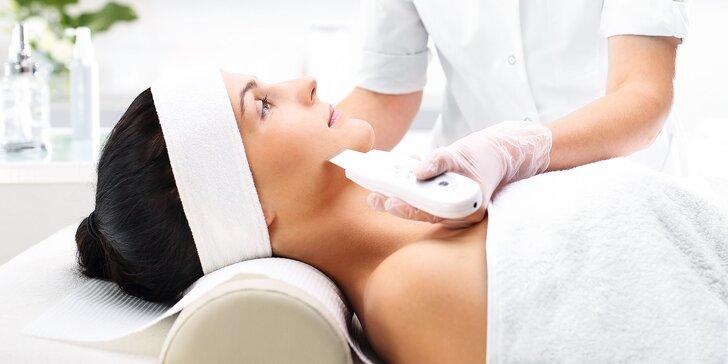 Hĺbkové ultrazvukové čistenie pleti alebo wellness masáž tváre a dekoltu