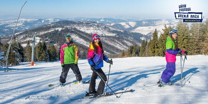Celodenný skipas alebo sezónny skipas VIP s večerným lyžovaním a servisom lyží alebo požičaním výstroje v Snowparadise Veľká Rača Oščadnica