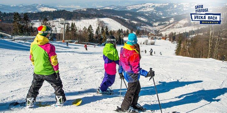 Celodenné skipasy na lyžovanie aj so servisom lyží a bobovaním v Snowparadise Veľká Rača Oščadnica