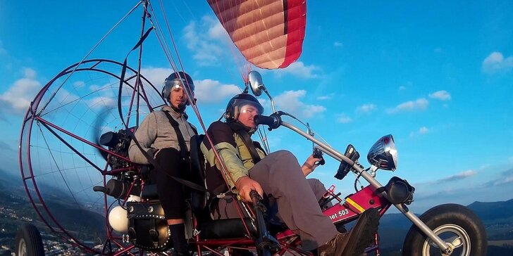 Motorový paragliding – tandemový let, okolie Trenčína