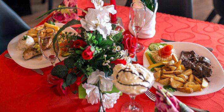 Romantická večera pre dvoch aj s dezertom a fľašou sektu