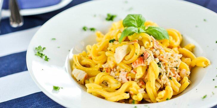 4 druhy cestovín a dezert v talianskej reštaurácii Luna Rossa