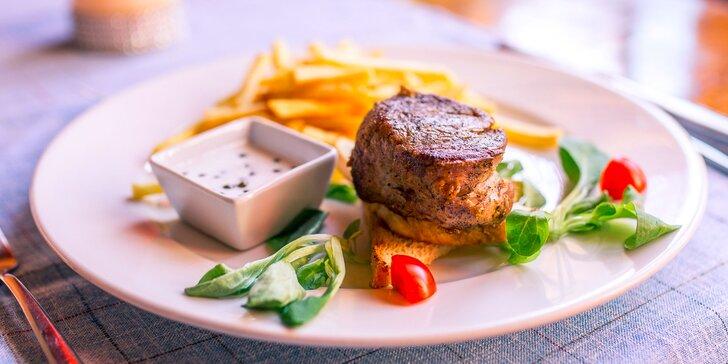 Steak z pravej hovädzej sviečkovice alebo z bravčovej panenky