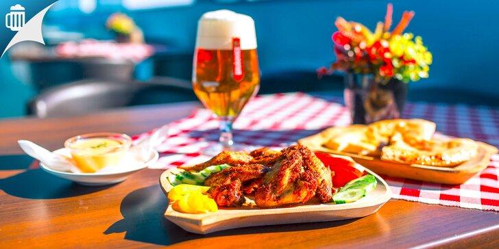 Pizza chlebík alebo grilované krídelká s pivkom