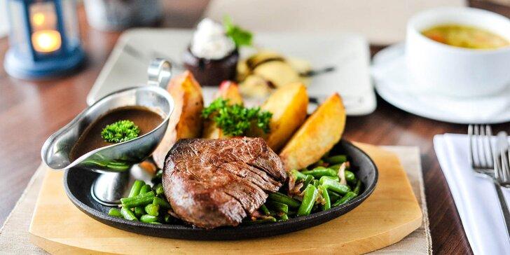 3-chodové menu s hovädzím steakom s fazuľkou a slaninou
