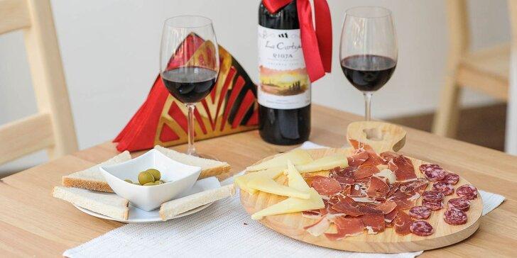 Španielsky tapas, olivy a ochutnávka Španielského vína z Rioji v La Bodega