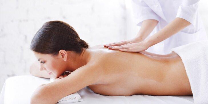 Klasická masáž chrbta a šije + 15 min. masáž podľa výberu