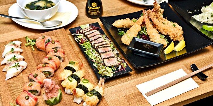 Degustačné sushi menu pre dvoch s predjedlom, polievkou Miso i dezertom