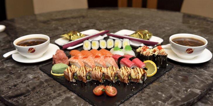 Sushi menu s polievkou a dezertom v Asian Restaurant v Auparku