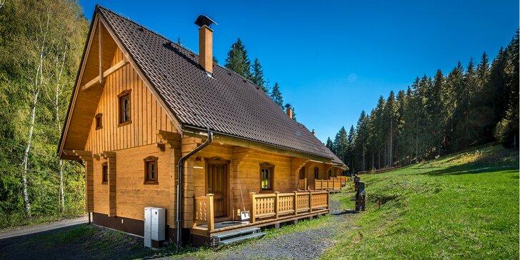 Oddych v štýlových zruboch v malebnej prírode Nízkych Tatier, až pre 8 osôb!