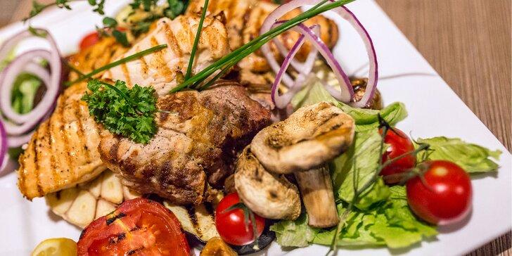 Mix grilovaných steakov a dezert pre dvoch v centre mesta
