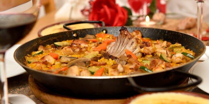 2-chodové španielske menu s paellou aj s prípitkom